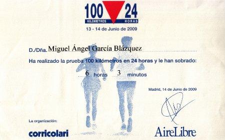 Diploma de los 100 km en 24 h 2009