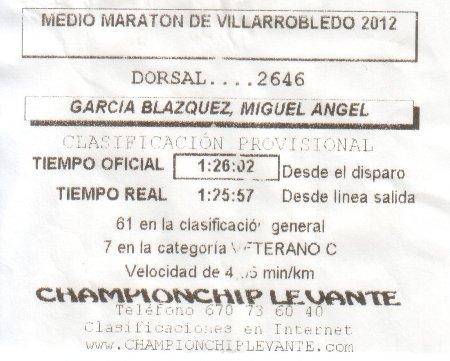 Ticket con los tiempos de Villarrobledo 2012