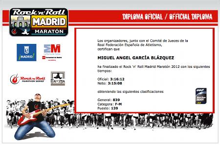 Diploma Rock'n'Roll Madrid Maratón 2012